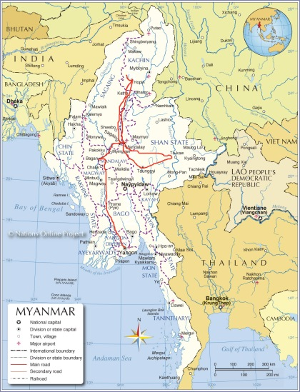 myanmar_map route