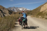 Pushing the bike up to Song Kul lake