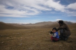 Nomads at Song Kul lake