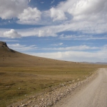 Road at Song Kul lake