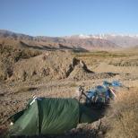 Camping in stone desert