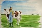 Bauer und Kuh
