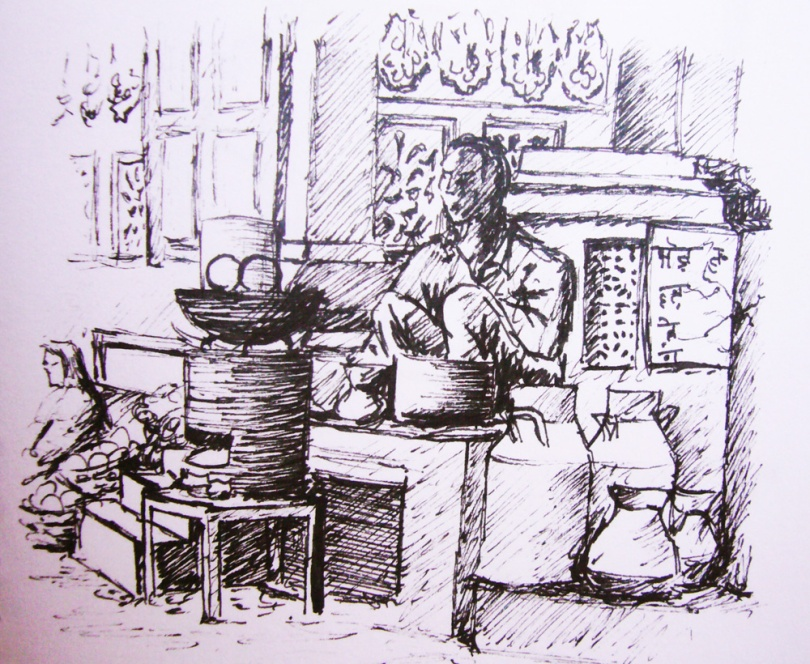 Man cooking, India