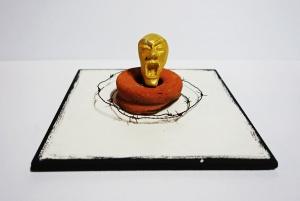 """""""Bound"""", Objekt auf Kachel, ca.18x18x7 cm"""