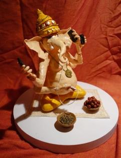 Shiva`s evil plan (25x25 cm, dough and acrylic)