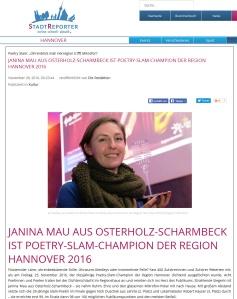 """1st prize: Poetry Slam """"Ohrenblick Mal!"""" der Hörregion Hannover"""