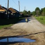 Dorfstraße in Bistraja, Irkutsk Oblast